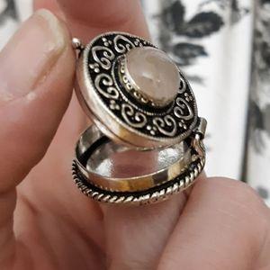 New Rose Quartz 925 Silver Poison Ring.